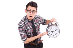 Man with clock trying to meet the deadline isolated Stock Images