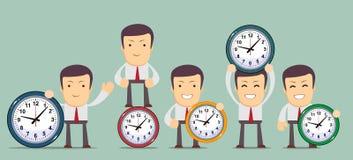 Man with clocks symbolizing time management Stock Photography