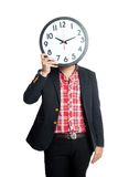 A man close his face with a clock Royalty Free Stock Photos