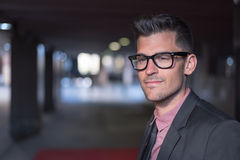 Man close up with glasses smiling Royalty Free Stock Image