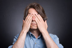 Man closed his eyes Stock Photo