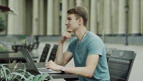 Man closes a laptop stock video