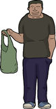 Man with Cloth Shopping Bag Royalty Free Stock Images