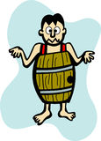 Man without clothes in a barrel vector Royalty Free Stock Photo