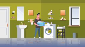 Man with clothes basket standing near washing machine guy doing housework laundry room modern bathroom interior male. Cartoon character full length flat stock illustration