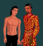 A man without clothes and a man in gilded clothes Eastern appearance standing next stock illustration