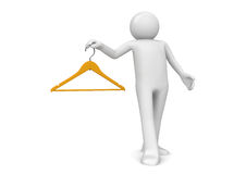 Man with clothes hanger Royalty Free Stock Images