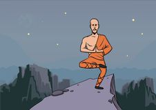 Man, master of martial arts practicing wushu in the mountains. Vector illustration. Man in the clothes of a monk, master of martial arts practicing wushu in the Royalty Free Stock Photos