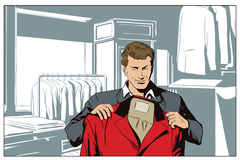 Man in a clothing store. Stock illustration. People in retro style pop art and vintage advertising. Man in a clothing store Royalty Free Stock Photos