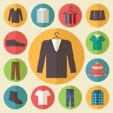 Man clothing vector icons set. Clothing icons set, shopping elements, flat design vector Vector Illustration