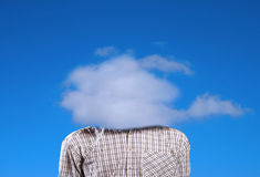 A man with a cloud instead of the head. Royalty Free Stock Photos