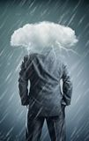 Man with cloud instead of head Royalty Free Stock Photography