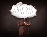 Man cloud head with question and exclamation marks concept Royalty Free Stock Photo
