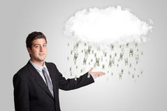 Man with cloud and money rain concept. Man with white cloud and money rain concept stock photos