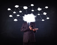 man with cloud network head on grungy background Stock Images