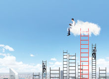 Man on a cloud reading a book Royalty Free Stock Photography
