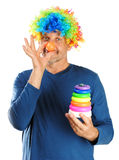 The man clown isolated on white background Stock Photo