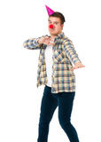 Man with clown nose Royalty Free Stock Image