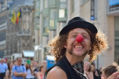 Man with Clowns-nose. GHENT, BELGIUM, 25 JULY 2014:Unidentified Man with red Clowns-nose at the festival of Ghent Royalty Free Stock Photos