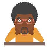 Man clutching his head in desperate. An african-american man sitting at the table and clutching his head vector flat design illustration isolated on white Royalty Free Stock Images
