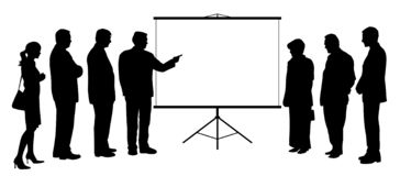Free Man Coach Showing Presentation On Projection Screen To People Group Stock Photo - 162869780