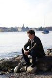 Man at the coast Royalty Free Stock Photo