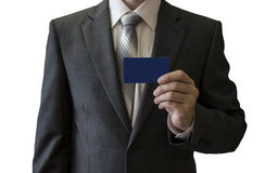 Man in coat with a card Stock Image
