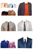 Man coats. Man and ladies suit isolated on white Royalty Free Stock Images