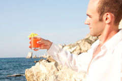 Man with cocktail Royalty Free Stock Image