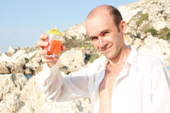 Man with cocktail Royalty Free Stock Photos