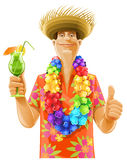 Man cocktail hawaii wreath hat stock images