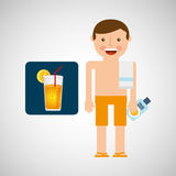 Man cocktail shorts towel beach vacations Stock Image