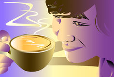 Man and coffee art Royalty Free Stock Photography
