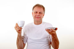 Man with a coffee cup Stock Image