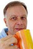 Man with coffee mug Stock Photos