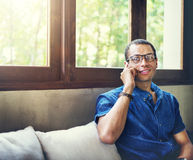 Man Coffee Shop Talking Telephone Concept.  Royalty Free Stock Images