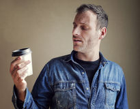 Man with coffee royalty free stock images