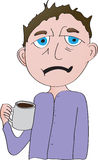 Man with coffee. Tired looking man with cup of coffee cartoon Stock Photography