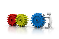 Man with cog wheels. 3d render of Man with cog wheels Royalty Free Stock Images