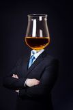 Man with Cognac Glass as Head Royalty Free Stock Photography