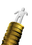Man on coins column isolated. Success Man on coins column Royalty Free Stock Photo
