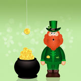 Man with coins in pot for St. Patrick's day Royalty Free Stock Photo