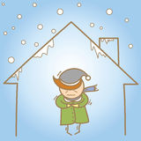 Man in the cold house Stock Image