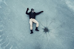 Man on  cold ice Royalty Free Stock Photo