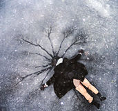 Man on the cold ice Stock Photography