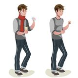 A man before and after a cold. Vector illustration Royalty Free Stock Image