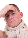 Man with cold with a scarf Stock Image