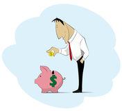 Man collecting money into piggy bank. Stock Photography