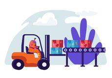 Man Collector Cleaning Trash to Rubbish Car. Character Collecting Cardboard Waste with Litter to Clean Ecology. Cleanup. Environment from Garbage. Horizontal royalty free illustration