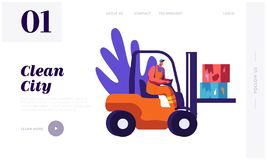 Man Collector Cleaning Trash to Rubbish Car Landing Page. Character Collect Cardboard Waste to Clean City. Cleanup Environment. From Garbage Website or Web Page vector illustration